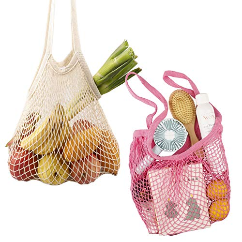 Handbag Net - RUIMAICAN Pack of 2 Large Net Shopping Bag Portable/Reusable/Washable Cotton Mesh String Organic Organizer Shopping Handbag Long Handle Net Tote (Beige/Rose)