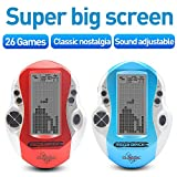 New Tetris Game Console Big Screen Electronic Tetris Intellectual Game Handheld Built-in A-Z 26 games classic nostalgic puzzle game good gift for a child (Red)