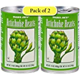 Trader Joe's Artichoke Hearts, Packed in Water, 14oz/400gr (Pack of 2)
