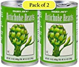 Trader Joes Artichoke Hearts, Packed in Water, 14oz/400gr (Pack of 2)