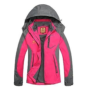 GITVIENAR Femme Imperméable Coupe-Vent Capuche Veste Softshell Outdoor Sport Camping Randonnée Trekking Manteau
