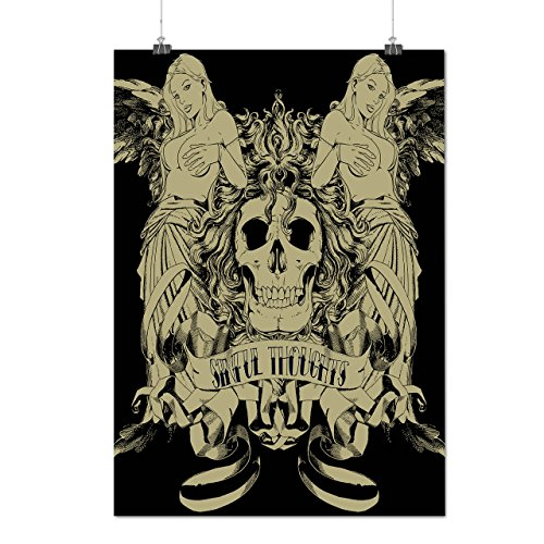 Sinful Thoughts City Skull Angel Matte/Glossy Poster A4 (9x12 inches) | (Dragon City Halloween Battle 9)