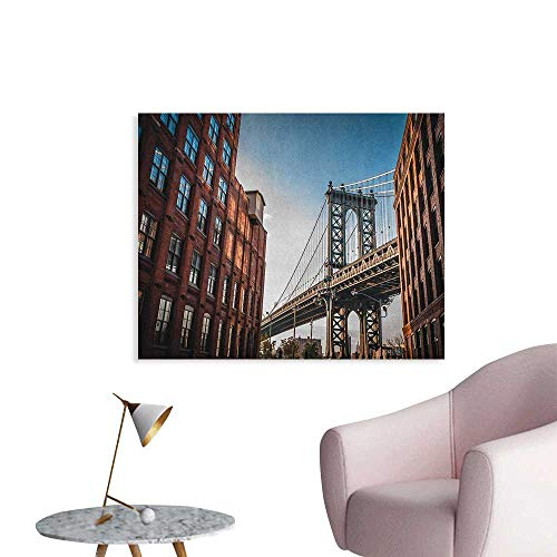 New York Wall Sticker Decals Manhattan Bridge Seen from Narrow Alley Island Borough Globally Influential Town NYC Wall Poster Blue Red W36 xL24