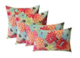 Set of 4 Indoor / Outdoor Pillows - 17'' Square Throw Pillows & 12'' x 20'' Rectangle / Lumbar Decorative Throw Pillows - Yellow, Orange, Blue, Pink Bright Artistic Floral