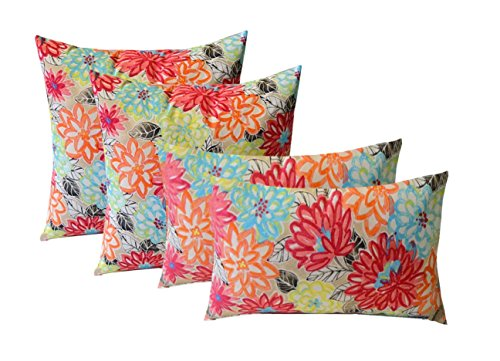 "Set of 4 Indoor / Outdoor Pillows - 17"" Square Throw Pillows & 12"" x 20"" Rectangle / Lumbar Decorative Throw Pillows - Yellow, Orange, Blue, Pink Bright Artistic Floral"
