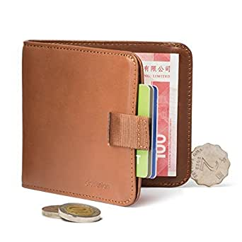 Distil Union Wally Euro Slim Leather Wallet Money Clip Coin Pocket (Hickory with Flexlock)