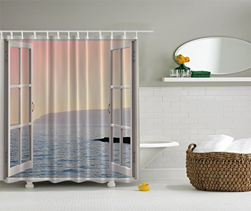 Ocean Decor Waterfront Coastal Scenery Shower Curtain View Panorama Panoramic View Decor Blue Ocean Ombre Pink Sky Sunset Mountains Art Island White Rustic Windows Picture Home Decor Bathroom (Waterfront Art Set)