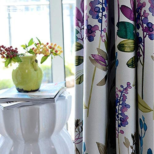 MYRU 1 Pair Purple Blue Flower Curtains for Living Room,Blackout Window Drapes for Bedroom 2 x 54×96 Inch