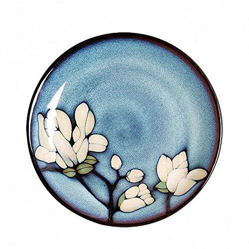 Vintage Japanese Rustic Flower Ceramic Dinner Plate Handmade Decorative Breakfast Serving Tray Dessert Bread Plate Dinnerware Porcelain Appetizer Steak Dish Salad Plates Fruit Platter, Blue Blue Flowers Bread Plate