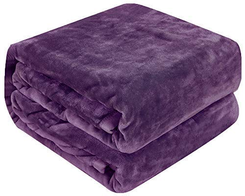 Qbedding Inc. Luxury Collection Microplush Flannel Fleece Blanket | Ultra Soft 380 GSM Lightweight All-Season Anti-Static Throw/Blanket for Sofa Couch Bed (Twin (59'' x 78''), Purple) (Soft Purple Blanket)