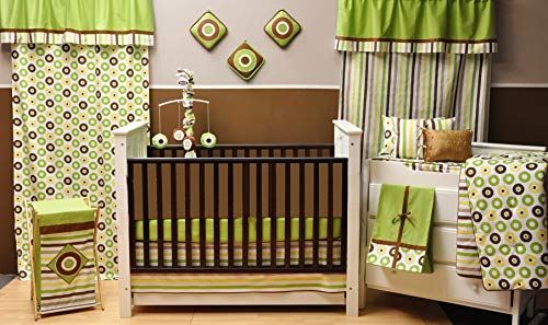Bacati Mod Dots Stripes 10-Piece Nursery-in-A-Bag Crib Bedding Set with Long Rail Guard, Green/Yellow/Chocolate