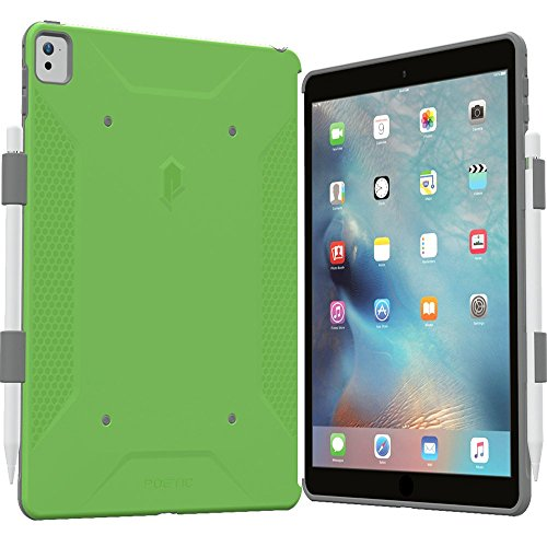 iPad Pro 9.7 Case, Poetic QuarterBack [Corner/Bumper Protection][Dual protection] - Stylish PC+TPU Case for iPad Pro 9.7 with Pencil Holder, Compatible w/ Apple Smart Keyboard Green/Gray