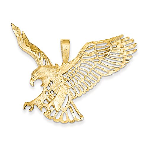 14k Yellow Gold Extra Large Cutout Eagle Pendant (Out Cut Pendant Eagle)