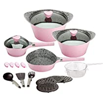 Ceramic Cookware Set Dishwasher Safe Nonstick Aluminum Induction Kitchen Cookware Set with Cooking Utensil Pack- 19 - Pink
