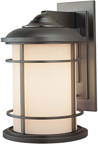 Feiss OL2202BB Lighthouse Outdoor Patio Lighting Wall Lantern, Bronze, 1-Light 9 W x 14 H 150watts