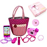 ZHOUWHJJ My First Purse Pretend Play Make up Set 10 PCS, Pretty Role Play Toy for Girls, Educational Pretend Toy for Preschoolers and Toddler Purse, Birthday,, New Year, in Gift Box
