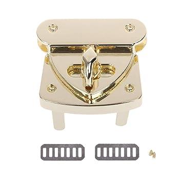 JENOR Drehschloss mit Metallverschluss und Drehverschluss-Verschluss DIY Leder Handtaschen-Zubeh/ör Gold