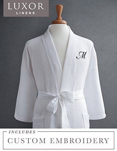 Luxor Linens Waffle Robe - 100% Egyptian Cotton - Unisex/One Size Fits Most - Waffle Weave, Spa Bathrobe, Luxurious, Soft, Plush - Perfect for All Seasons Giovanni Collection - 1-pc Customizable by Luxor Linens