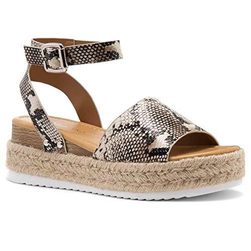 Shoe Land Legossa Women's Open Toe Ankle Strap Platform Wedge Sandals NAT/Snake 5.0 (Cushioned Support Comfort)