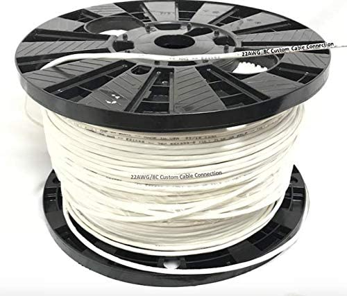 500 Foot Spool Custom Cable Connection 22 AWG 8 Conductor Stranded Shielded Plenum Cable CL3P White Jacket