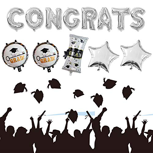 - Sharlity Graduate Balloon Set-Graduation Certificate Star Congrats Grad Balloon for Graduation Party Pack of 14