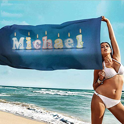 TT.HOME Baby Bath Towel,Michael Kids Boys Name Letter Design for Delicious Birthday Party Cake Decoration,for Bathroom, Shower Towel, Gym,W40x10L, Blue and Multicolor]()