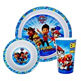 Paw Patrol Official Childrens/Kids 3 Piece Plastic Dinner Set (One Size) (Blue/White)