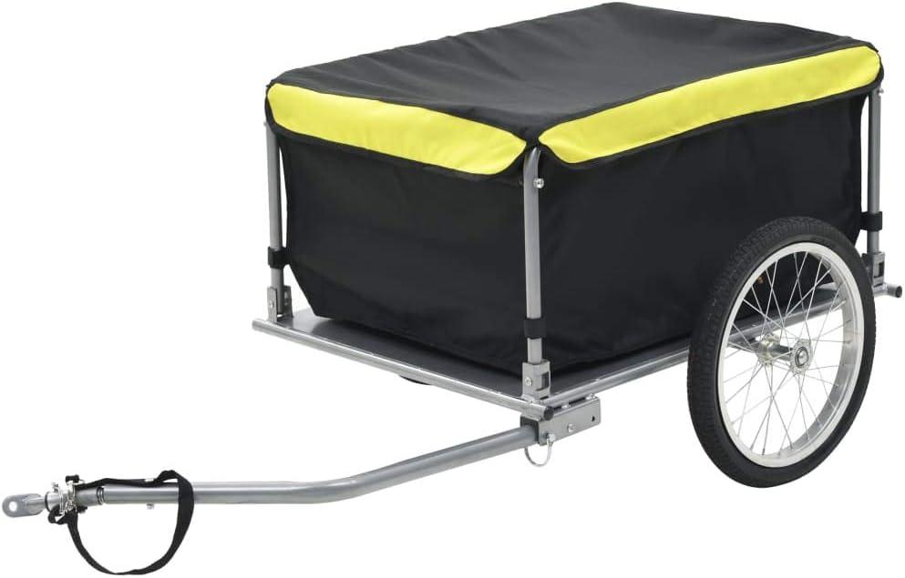 Festnight Remolque de Carga para Bicicletas | Remolque para Bicicletas | Carga de Equipaje | Barra de Acoplamiento | 65 kg | 72 x 55 x 36 cm | Negro y Amarillo |