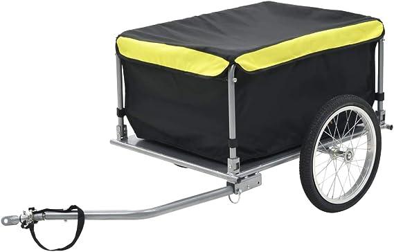 Tidyard Remolque de Carga para Bicicletas Carros para Bicicletas Negro y Amarillo 65 Kg Acero y Tejido 100% Poliéster 136 X 72 X 58 Cm: Amazon.es: Hogar