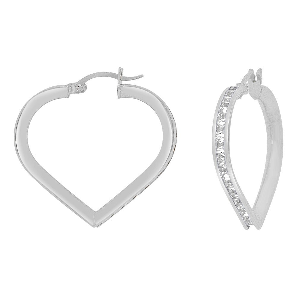 14k Gold White Rhodium, Heart 3mm Channel Set Created CZ Earring 25mm Inner Diameter by GiveMeGold