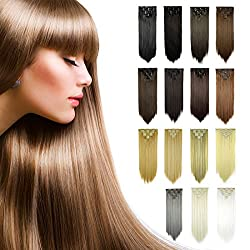 Feshfen 24 Inch 7 Pcs 16 Clips Straight Hair Extensions Long Synthetic Clip In Hair Extension Full Head Hair Pieces For Women 4.6oz130g - 30# Auburn Brown