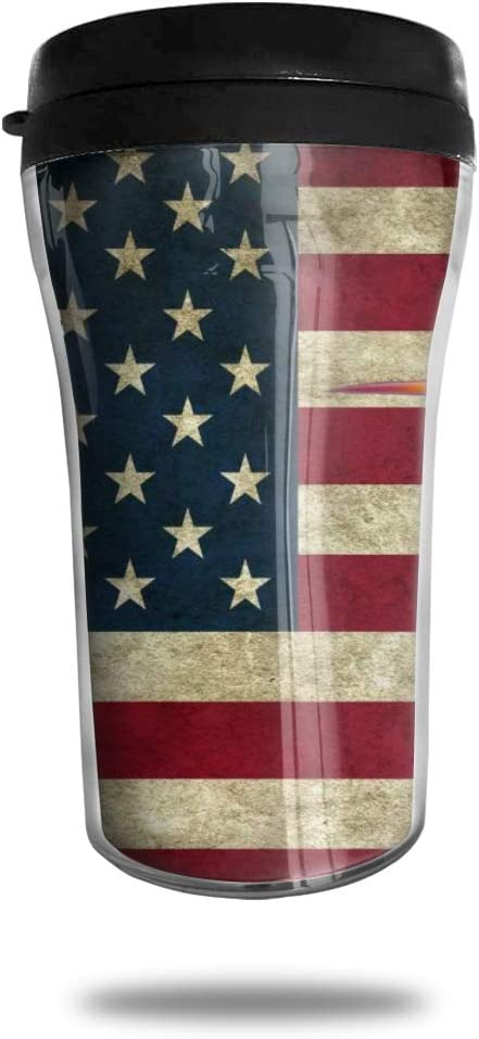 CZJAHBL Retro Colorful Hummingbird American Flag Travel Coffee Mug Delicate Printing Portable Vacuum Cup,Food Grade Abs Insulated Cup Anti-Spill(8.8 Oz)