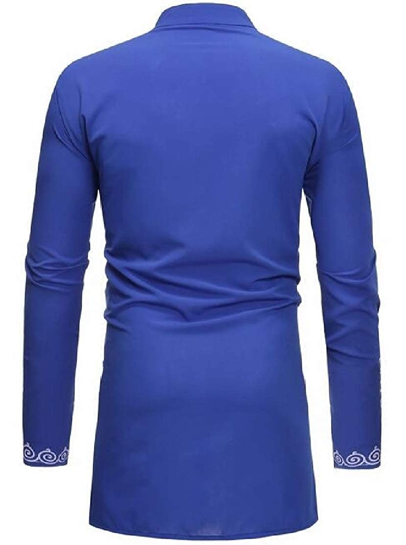 BU2H Men Printed Casual Muslim Wear Plus Size Stand Collar Long Sleeve Shirt