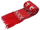 MTFS Winter Scarf Reindeer Snowflake Knit Scarf Lovely Christmas Scarf (Red)