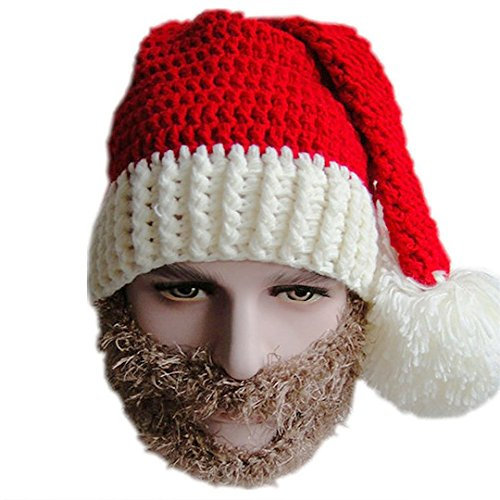 [La moriposa Unisex Winter Warm Crochet Christmas Hat Cap Beanie Hat Ski Cap with Beard Wind Guard Masks Costume(Grey)] (Man In Wind Costume)