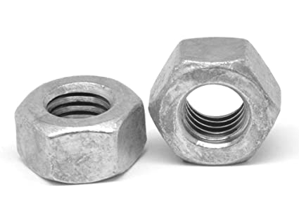 1//4-20 Coarse Thread A563 Grade A Heavy Hex Nut Low Carbon Steel Hot Dip Galvanized Pk 100