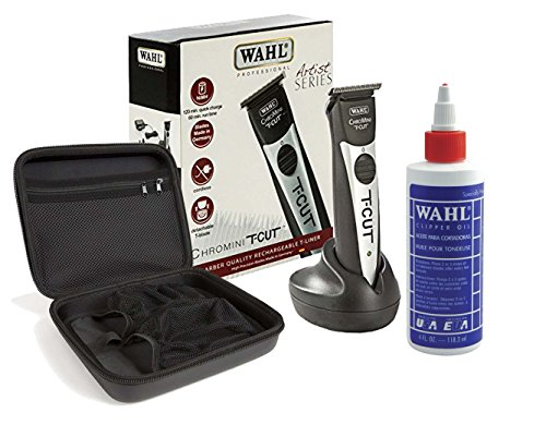 Wahl Professional Artist Series Chromini T-Cut #8549 with Travel Storage Case #90728 and 4oz Clipper Oil #03310 – Great for Barbers and Stylists by Wahl Professional