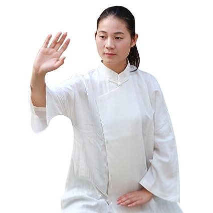 c70ceff50 BlueSkyDeer Women's Japanese Cotton Meditation Clothing Tai Chi Shirt White  S