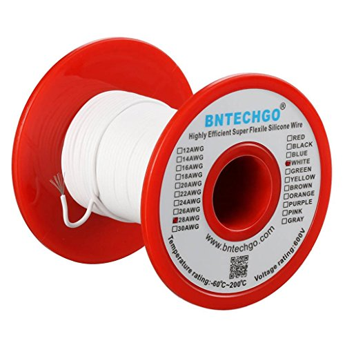 BNTECHGO 28 Gauge Silicone Wire 50 feet Spool White Soft and Flexible High Temperature Resistant Highly Efficient Electric Wire 28 AWG Silicone Wire 16 Strands of Tinned Copper - Spool 28 Gauge