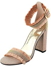 6bb460550734 Women s Open Toe Strappy Single Band Buckle Ankle Frayed Distressed Chunky  Wrapped Block High Heel Sandal