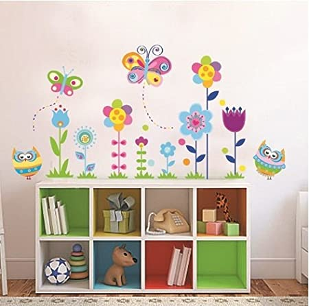 Colourful flower butterfly owls floral art decal window wall stickers removable reusable wall stickers