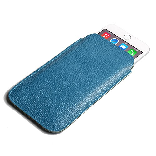 Apple iPhone 7 Case, Leather Case, Pouch, Holster, Wallet Case, Protective Case, Phone Case - Simple Leather Pouch Case (Teal Pebble Leather) by Pdair