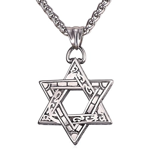 U7 Men Women Vintage Star of David Necklace Pendant with Stainless Steel Chain 22 Inch