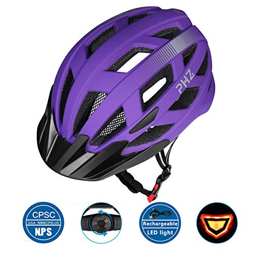 PHZ. Adult Bike CPSC Certified Helmet with Rechargeable Led Back Light/Detachable Visor Ideal for Road Ride Mountain Bike Bicycle for Men and Women ...