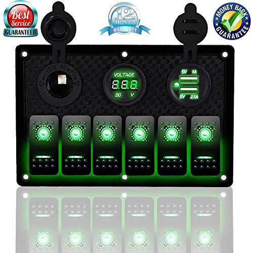 DCFlat 5 Pin 4 Gang / 6 Gang Car Marine Boat Circuit RV LED Rocker Switch Panel Breaker Voltmeter USB for RV Car Boat Blue / Red / Green Light (6 Gang Plastic Green)