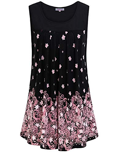 - Cute Fashion Shirts for Women,Womens Sleeveless Trendy Tops Round Neck Trim Tanks Ladies Floral Printed Popular Shirts Graceful Pleated A Line Blouse for Leggings Office Leisure Wear Pink Flower M
