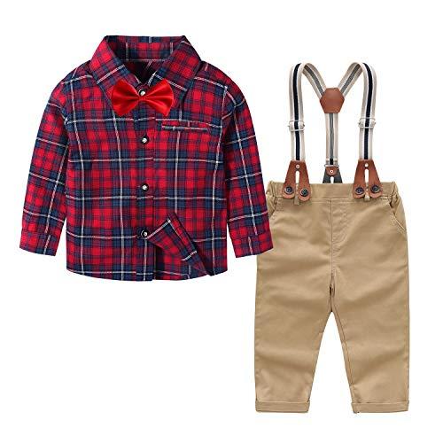 Yilaku Kledingset baby jongens pak set baby jongen 4-delig broek + bretels + hemd + vlinderdas jongens doop kleding…