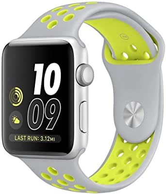 New Silicon Replacement Sports Bracelet Strap Band for Apple Watch Series 2/1 42MM Gray+green