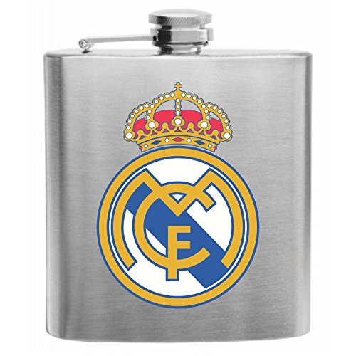 Real Madrid Spain Football Soccer Club Stainless Steel Hip Flask 6oz Gift by Crown