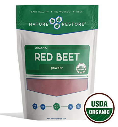 Nature Restore Organic Beet Root Powder, Non-GMO & Gluten Free (8 ounces), Complete Red Beet with Natural Fiber